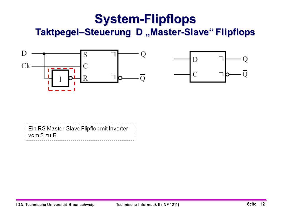 "Taktpegel–Steuerung D ""Master-Slave Flipflops"