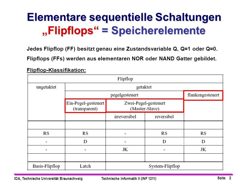 """Elementare sequentielle Schaltungen """"Flipflops = Speicherelemente"""