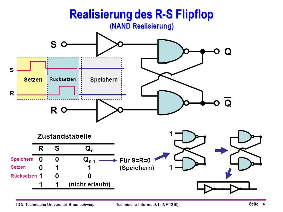 Realisierung des R-S Flipflop (NAND Realisierung)