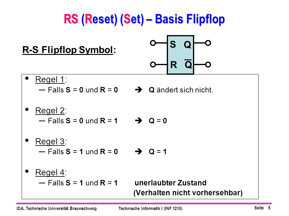 RS (Reset) (Set) – Basis Flipflop