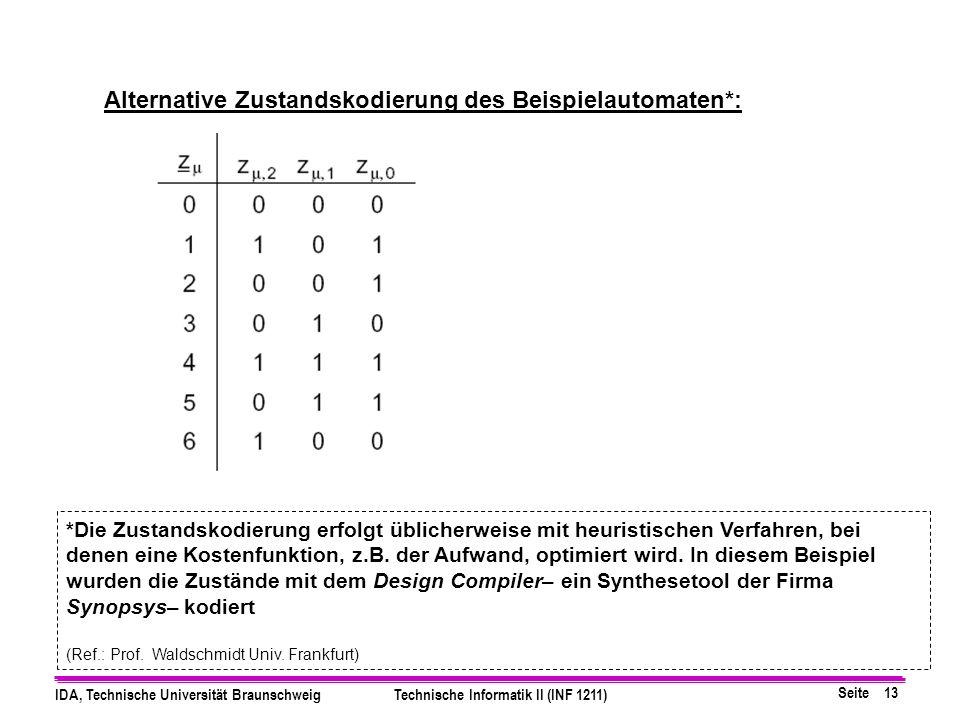 Alternative Zustandskodierung des Beispielautomaten*: