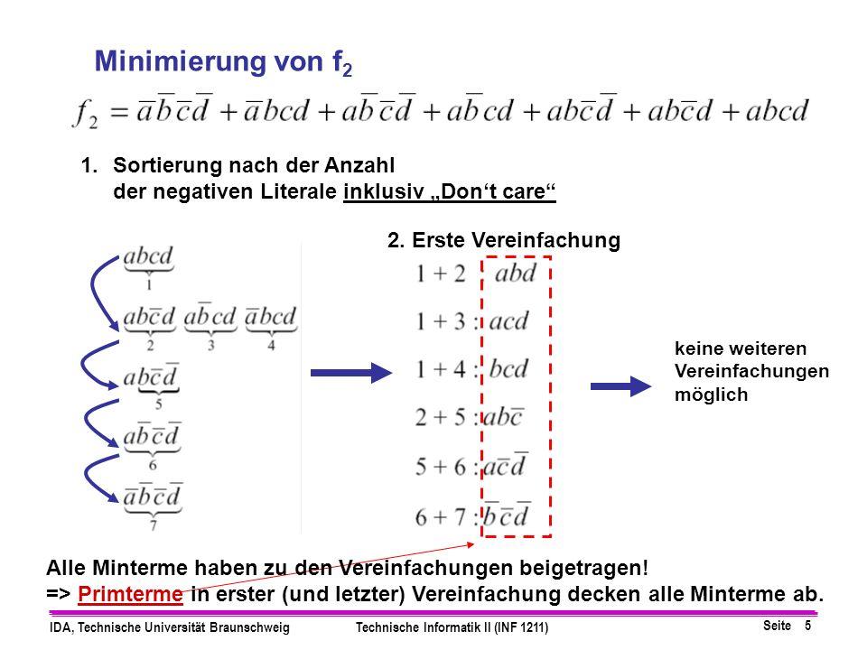 """Minimierung von f2 Sortierung nach der Anzahl der negativen Literale inklusiv """"Don't care 2. Erste Vereinfachung."""