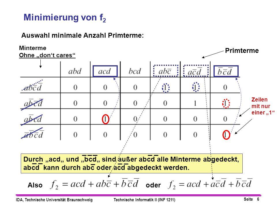 Minimierung von f2 Auswahl minimale Anzahl Primterme: Primterme Also