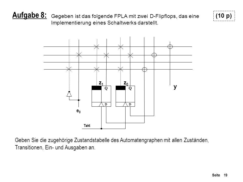 Gegeben ist das folgende FPLA mit zwei D-Flipflops, das eine Implementierung eines Schaltwerks darstellt.