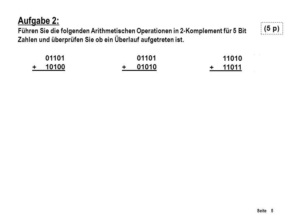 Aufgabe 2: Führen Sie die folgenden Arithmetischen Operationen in 2-Komplement für 5 Bit. Zahlen und überprüfen Sie ob ein Überlauf aufgetreten ist.
