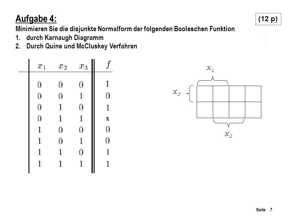 Aufgabe 4: Minimieren Sie die disjunkte Normalform der folgenden Booleschen Funktion. durch Karnaugh Diagramm.