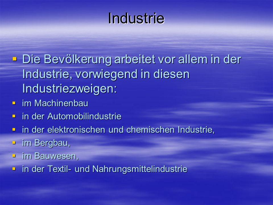 Industrie Die Bevölkerung arbeitet vor allem in der Industrie, vorwiegend in diesen Industriezweigen: