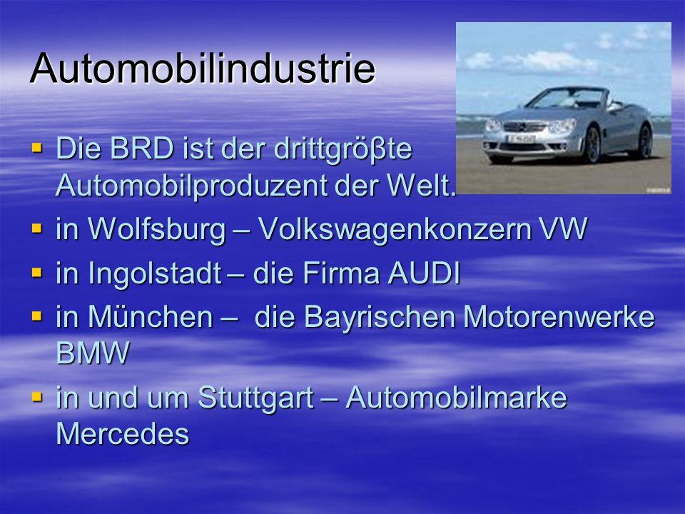 Automobilindustrie Die BRD ist der drittgröβte Automobilproduzent der Welt. in Wolfsburg – Volkswagenkonzern VW.