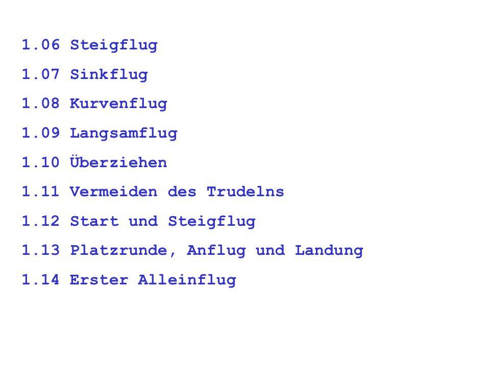 1.06 Steigflug 1.07 Sinkflug. 1.08 Kurvenflug. 1.09 Langsamflug. 1.10 Überziehen. 1.11 Vermeiden des Trudelns.