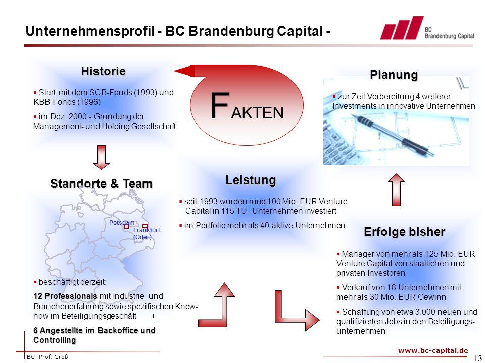 FAKTEN Unternehmensprofil - BC Brandenburg Capital - Historie Planung