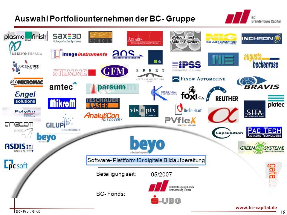 Auswahl Portfoliounternehmen der BC- Gruppe