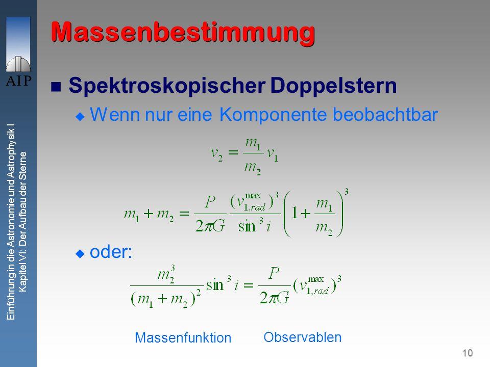 Massenbestimmung Spektroskopischer Doppelstern