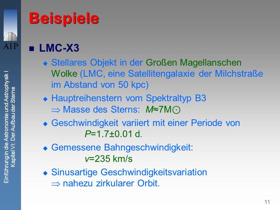 Beispiele LMC-X3. Stellares Objekt in der Großen Magellanschen Wolke (LMC, eine Satellitengalaxie der Milchstraße im Abstand von 50 kpc)