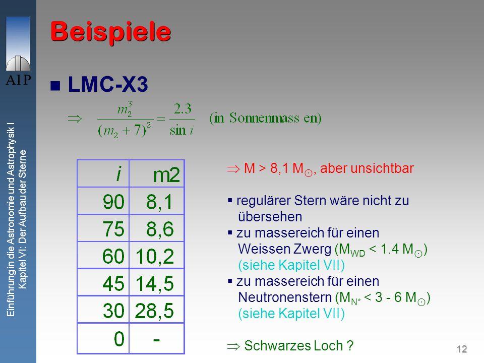 Beispiele LMC-X3  M > 8,1 M⊙, aber unsichtbar