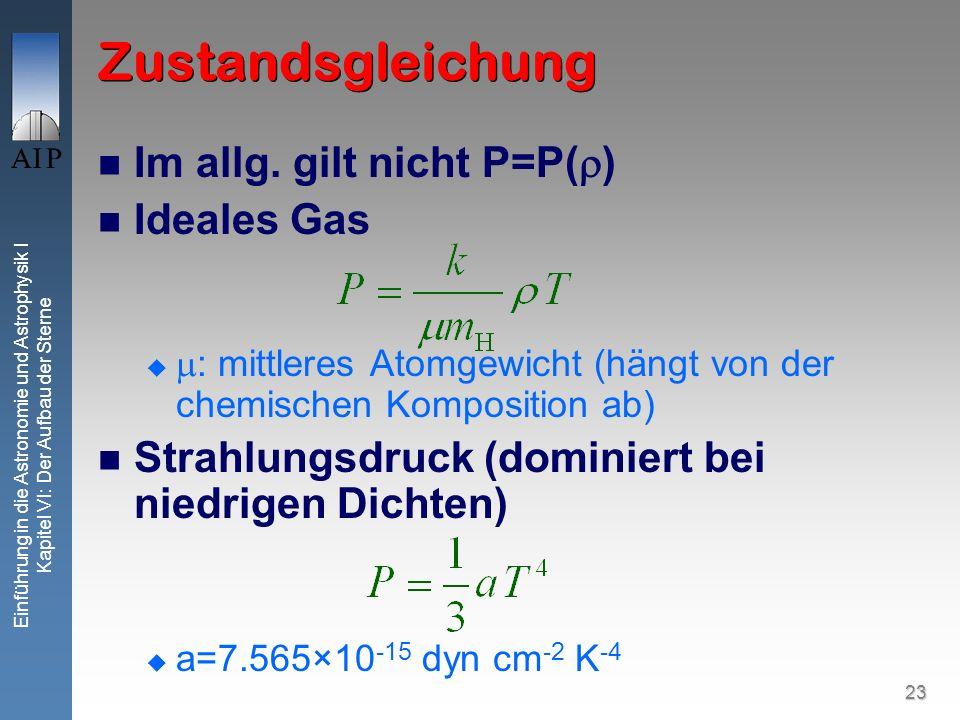 Zustandsgleichung Im allg. gilt nicht P=P() Ideales Gas