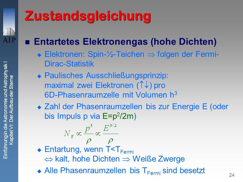Zustandsgleichung Entartetes Elektronengas (hohe Dichten)