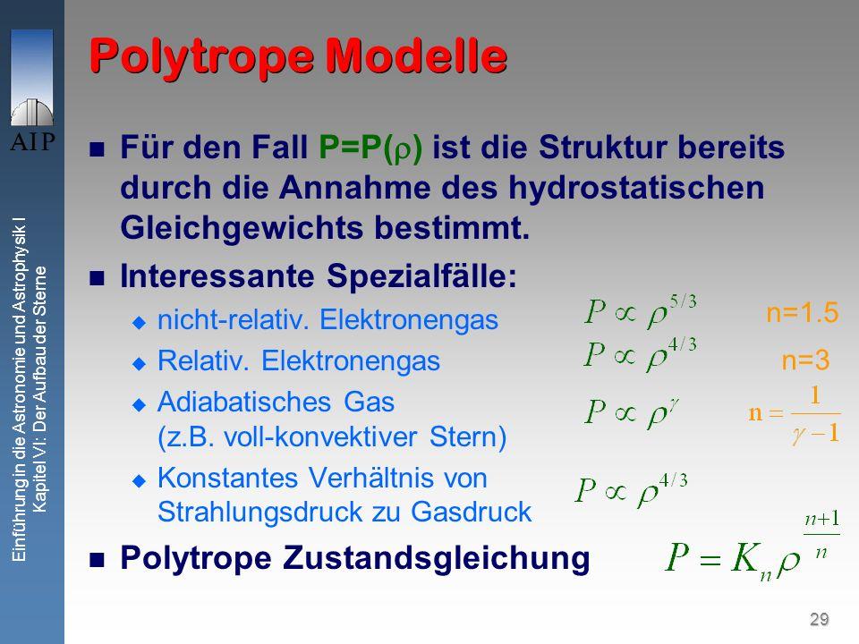 Polytrope Modelle Für den Fall P=P() ist die Struktur bereits durch die Annahme des hydrostatischen Gleichgewichts bestimmt.
