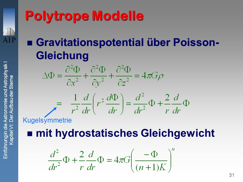 Polytrope Modelle Gravitationspotential über Poisson-Gleichung