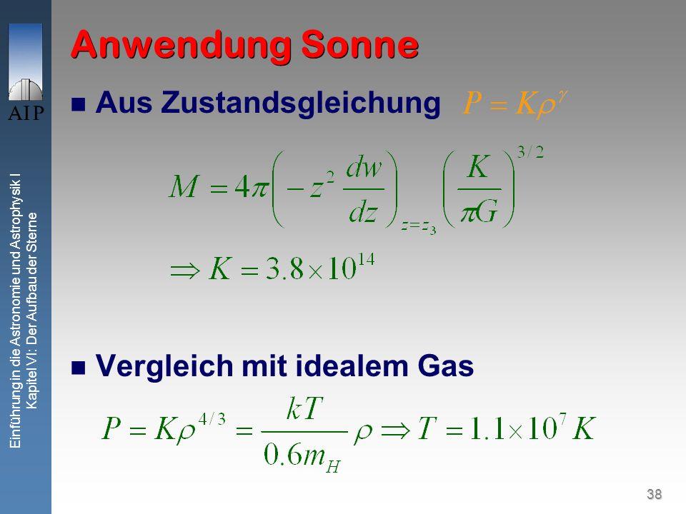 Anwendung Sonne Aus Zustandsgleichung Vergleich mit idealem Gas