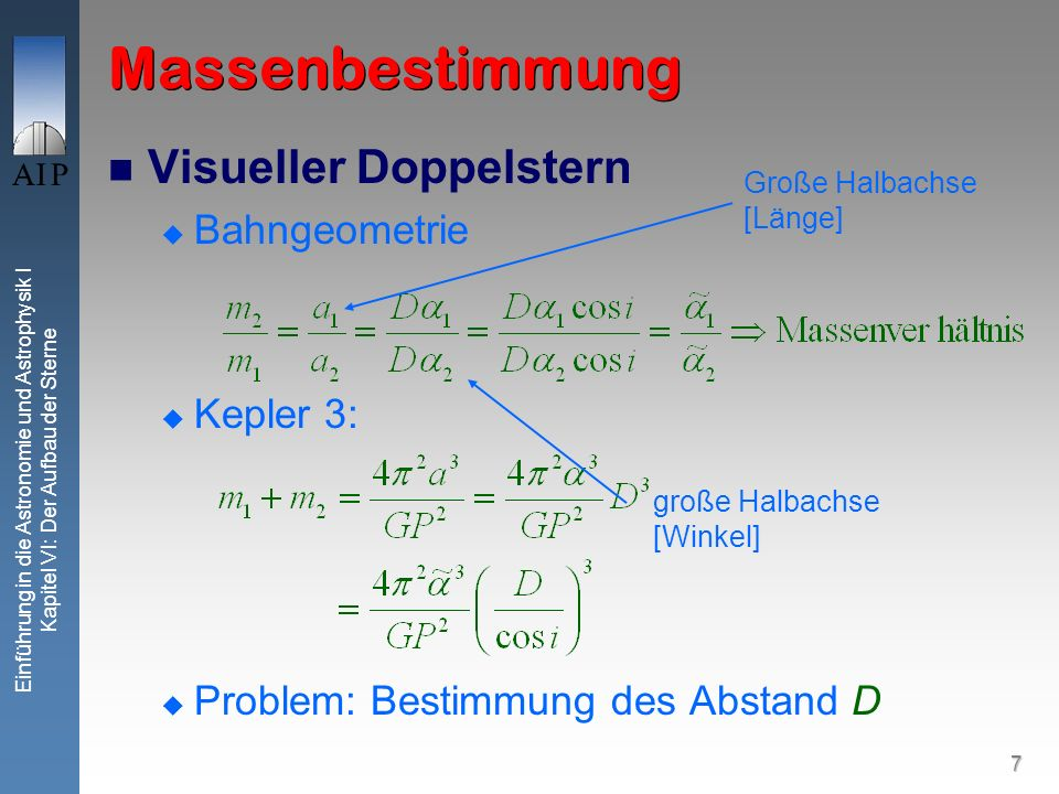 Massenbestimmung Visueller Doppelstern Bahngeometrie Kepler 3:
