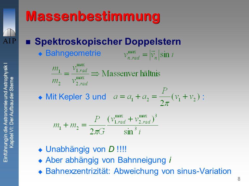 Massenbestimmung Spektroskopischer Doppelstern Bahngeometrie
