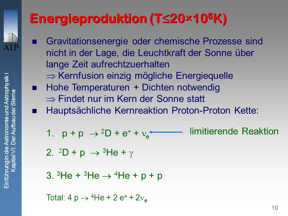 Energieproduktion (T≤20×106K)