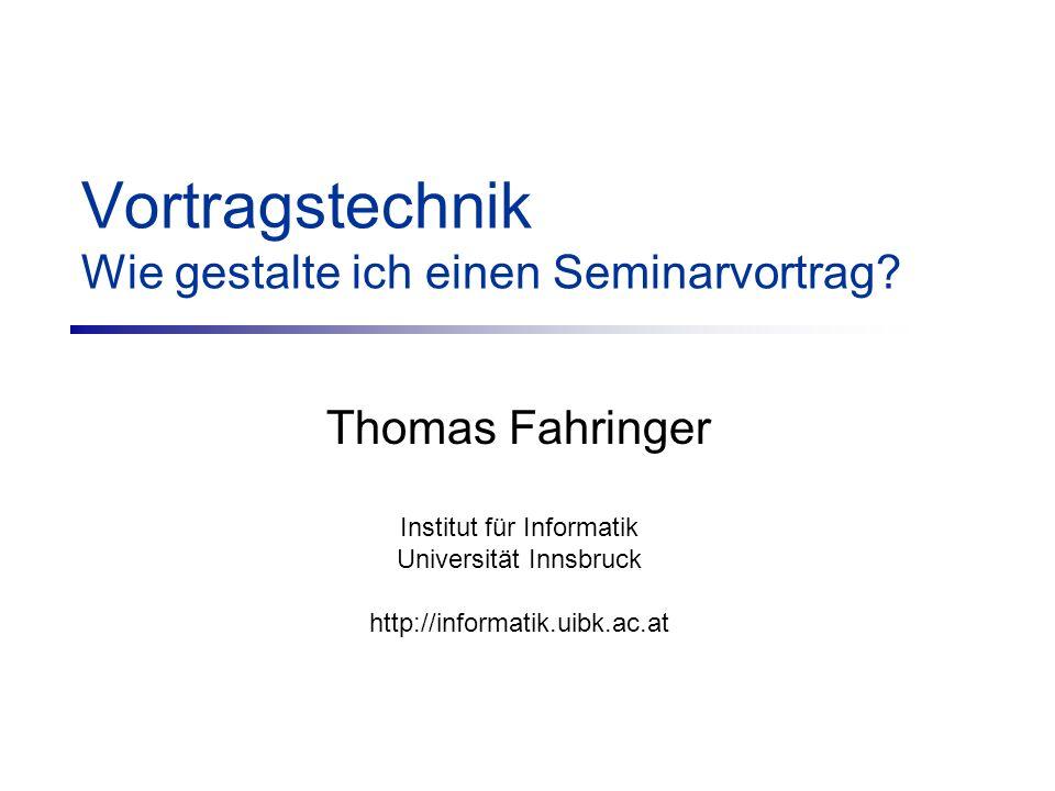 Vortragstechnik Wie gestalte ich einen Seminarvortrag