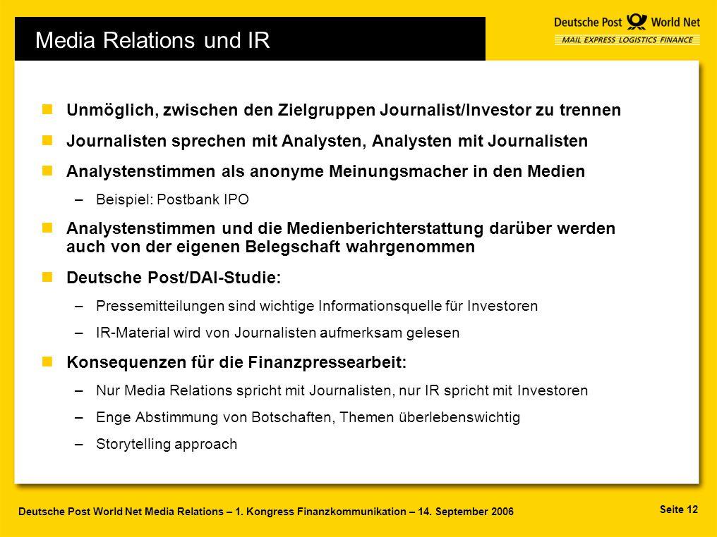 31.03.2017 Media Relations und IR. Unmöglich, zwischen den Zielgruppen Journalist/Investor zu trennen.