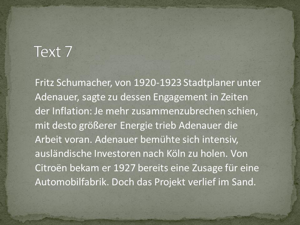 Fritz Schumacher, von 1920-1923 Stadtplaner unter