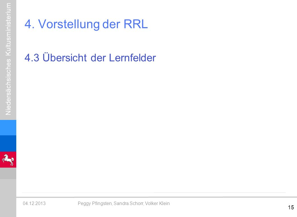 4. Vorstellung der RRL 4.3 Übersicht der Lernfelder Lernfelder