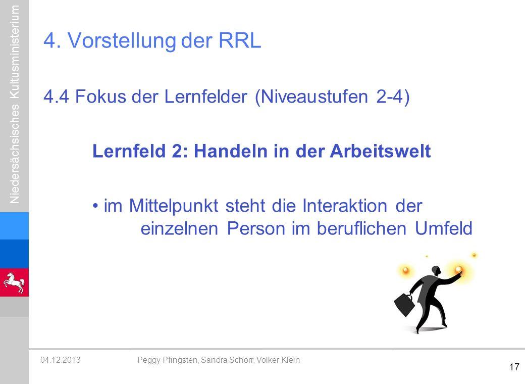4. Vorstellung der RRL 4.4 Fokus der Lernfelder (Niveaustufen 2-4)