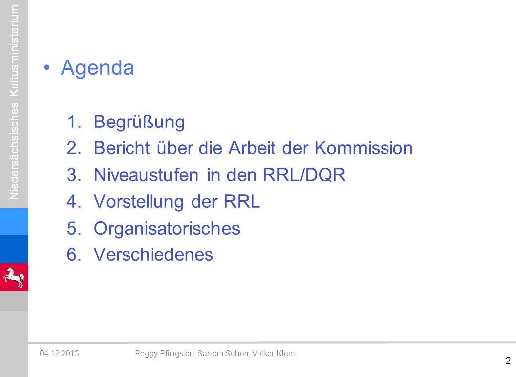 Agenda Begrüßung Bericht über die Arbeit der Kommission