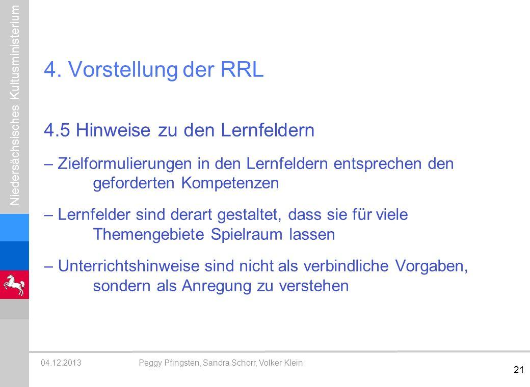 4. Vorstellung der RRL 4.5 Hinweise zu den Lernfeldern