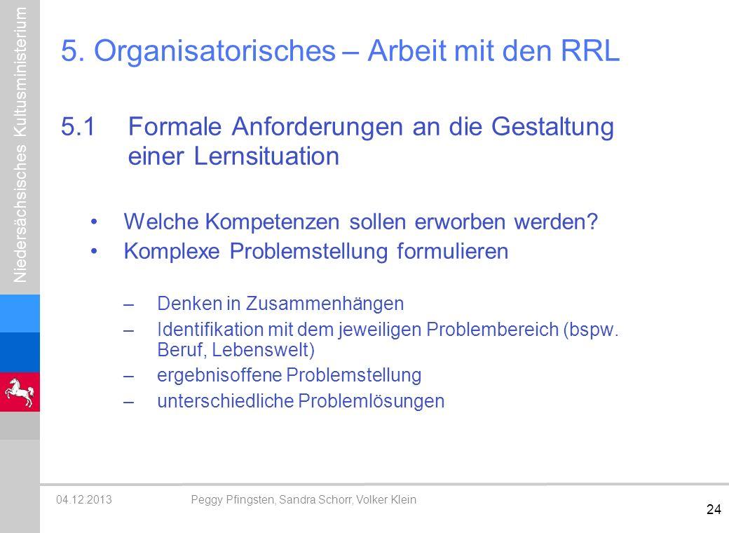 5. Organisatorisches – Arbeit mit den RRL