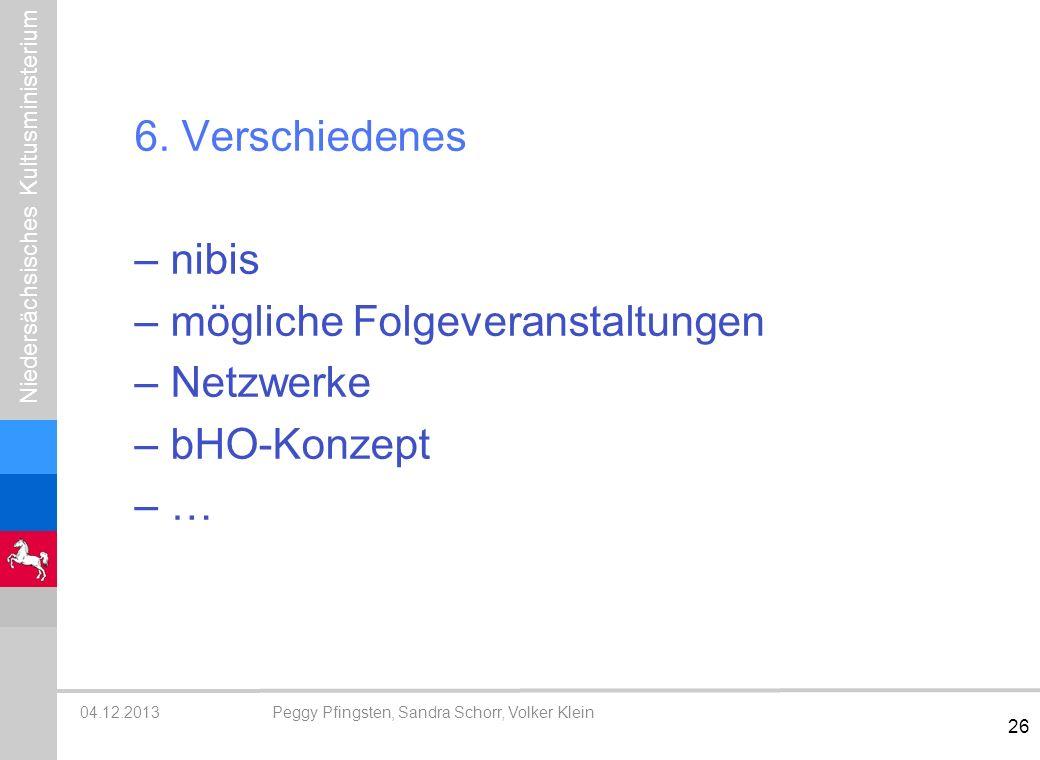 6. Verschiedenes nibis mögliche Folgeveranstaltungen Netzwerke bHO-Konzept …