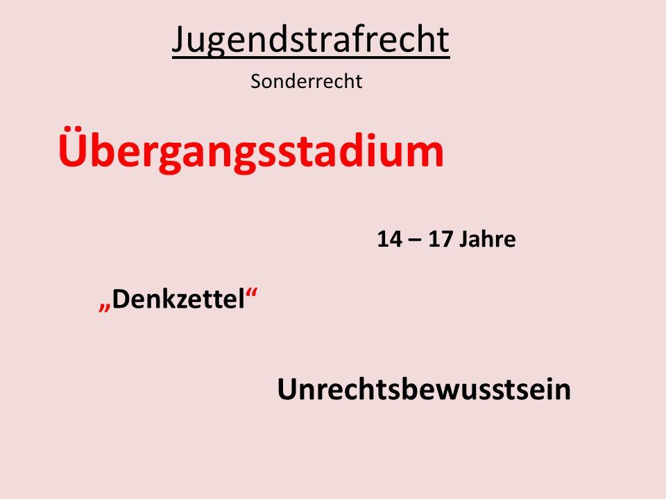 """Übergangsstadium Jugendstrafrecht Unrechtsbewusstsein """"Denkzettel"""