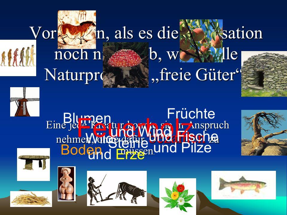 """Vor Zeiten, als es die Zivilisation noch nicht gab, waren alle Naturprodukte """"freie Güter ."""