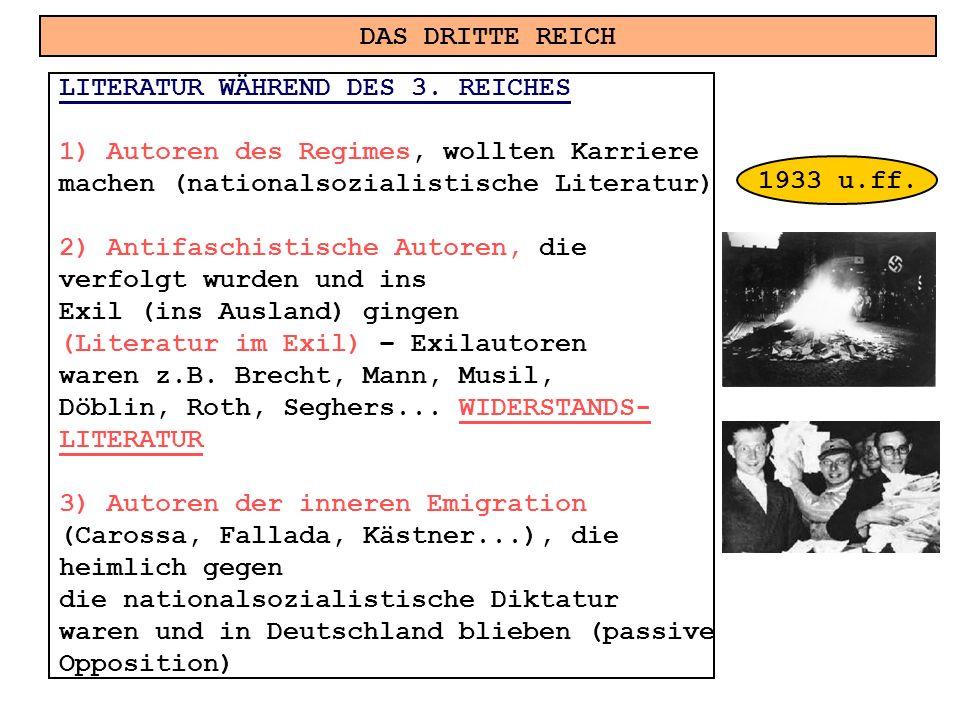 DAS DRITTE REICH LITERATUR WÄHREND DES 3. REICHES. Autoren des Regimes, wollten Karriere. machen (nationalsozialistische Literatur)