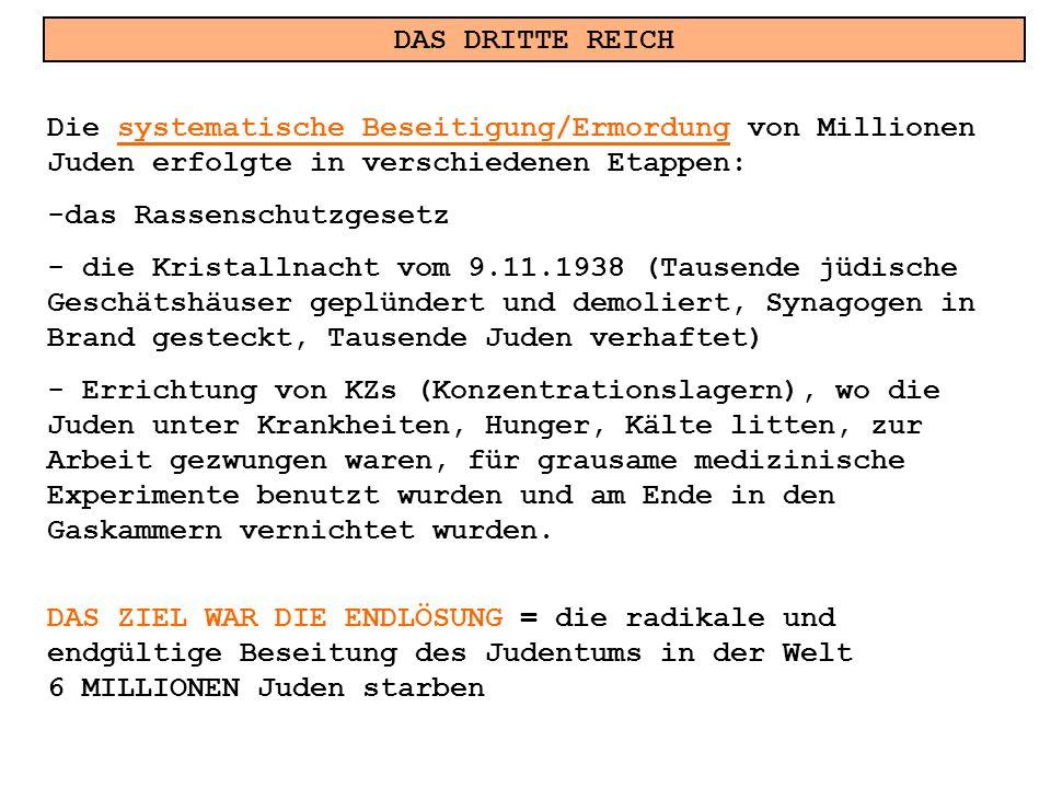 DAS DRITTE REICH Die systematische Beseitigung/Ermordung von Millionen Juden erfolgte in verschiedenen Etappen: