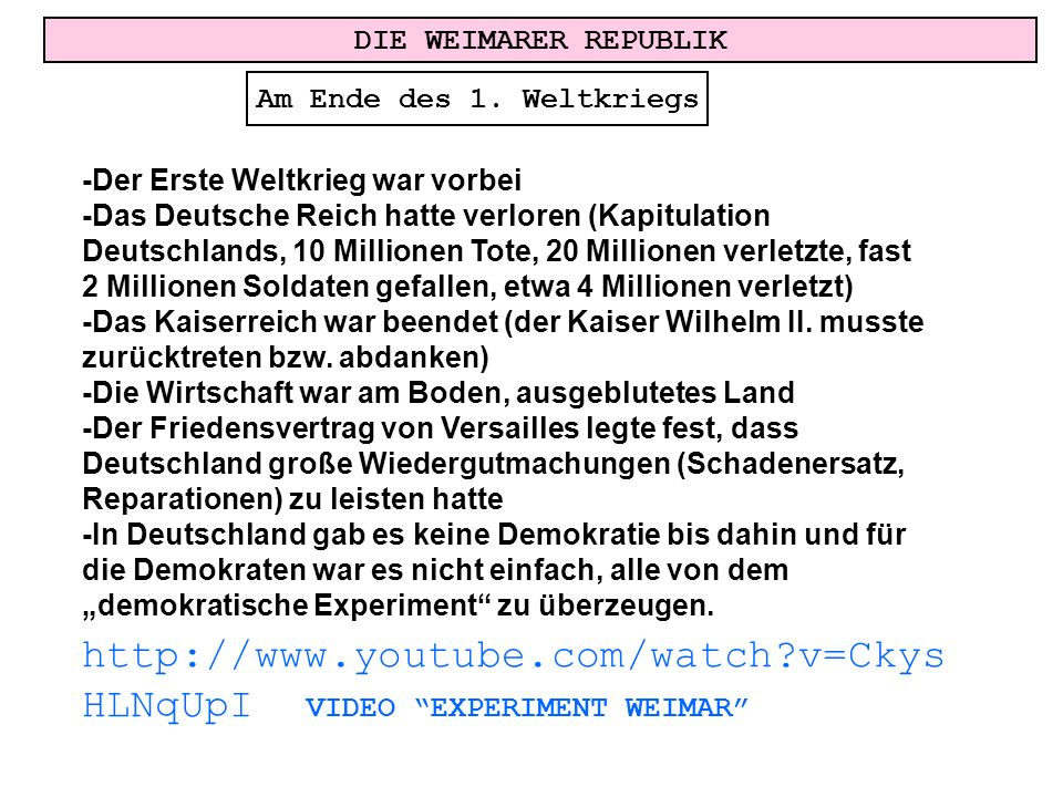 http://www.youtube.com/watch v=CkysHLNqUpI VIDEO EXPERIMENT WEIMAR