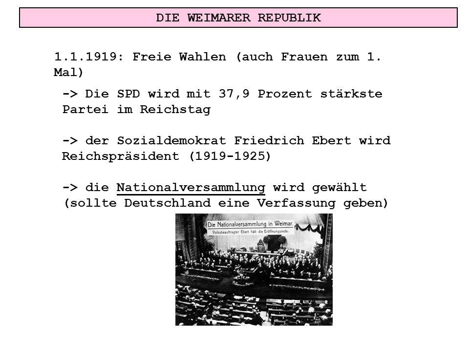 DIE WEIMARER REPUBLIK 1.1.1919: Freie Wahlen (auch Frauen zum 1. Mal) -> Die SPD wird mit 37,9 Prozent stärkste Partei im Reichstag.