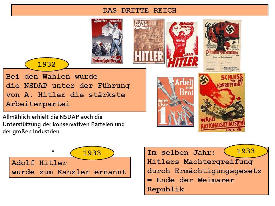 die NSDAP unter der Führung von A. Hitler die stärkste Arbeiterpartei