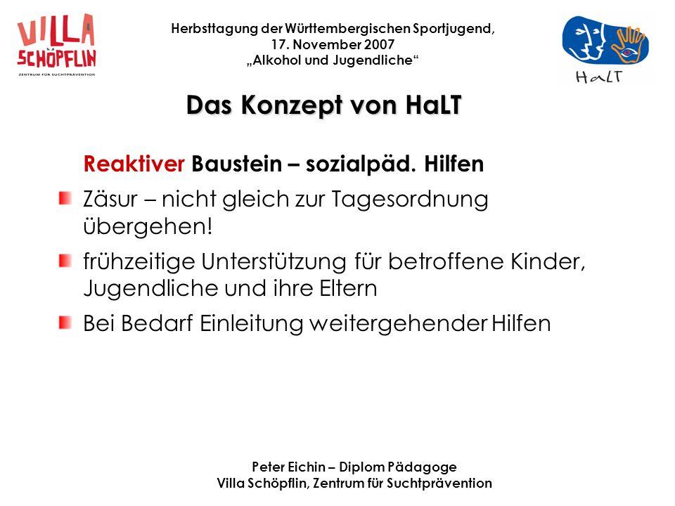 Das Konzept von HaLT Reaktiver Baustein – sozialpäd. Hilfen