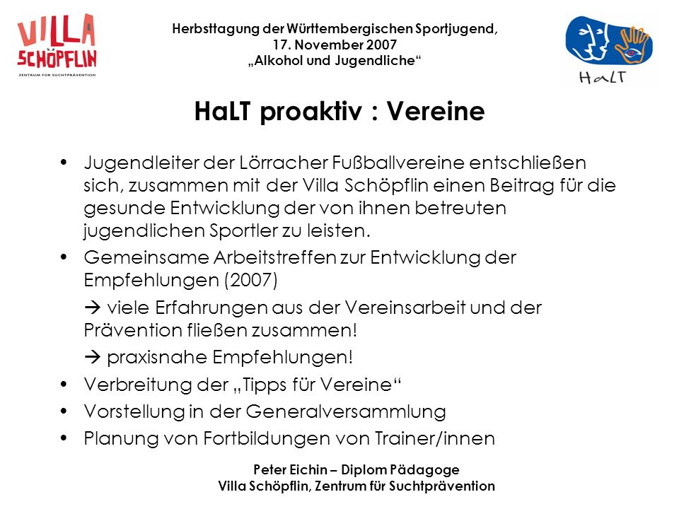 HaLT proaktiv : Vereine