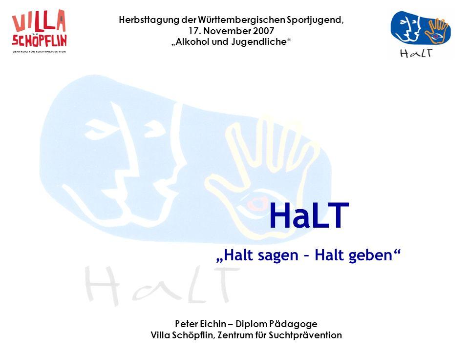 """HaLT """"Halt sagen – Halt geben Peter Eichin – Diplom Pädagoge"""