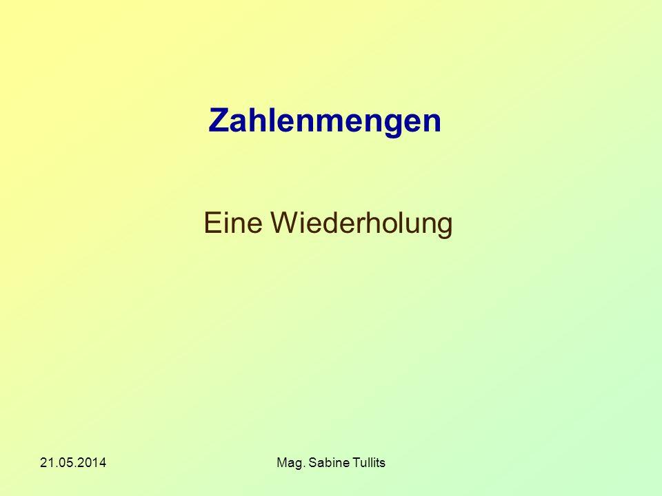 Zahlenmengen Eine Wiederholung 31.03.2017 Mag. Sabine Tullits