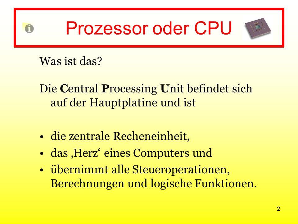 Prozessor oder CPU Was ist das