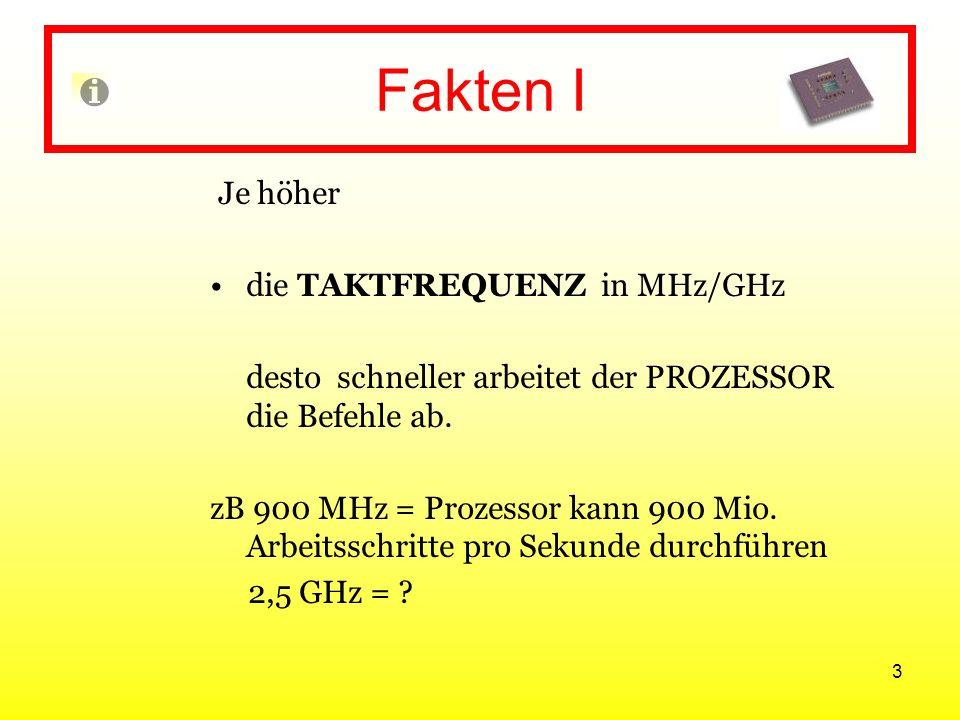 Fakten I Je höher die TAKTFREQUENZ in MHz/GHz