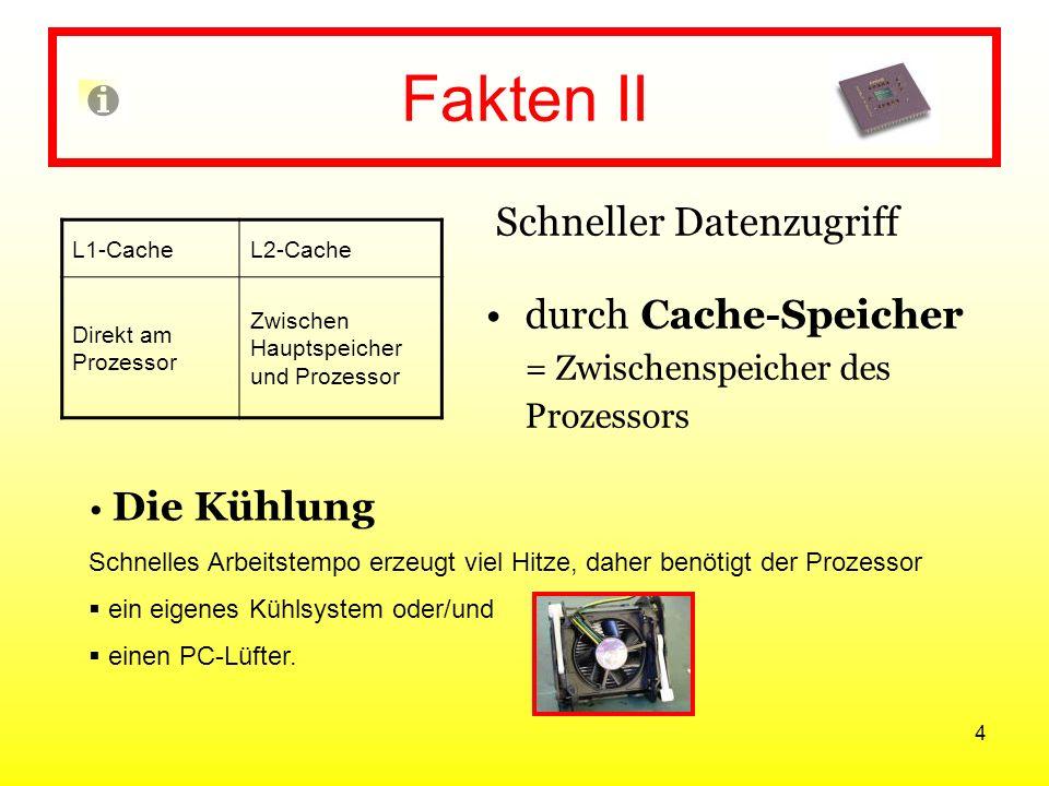 Fakten II Schneller Datenzugriff durch Cache-Speicher