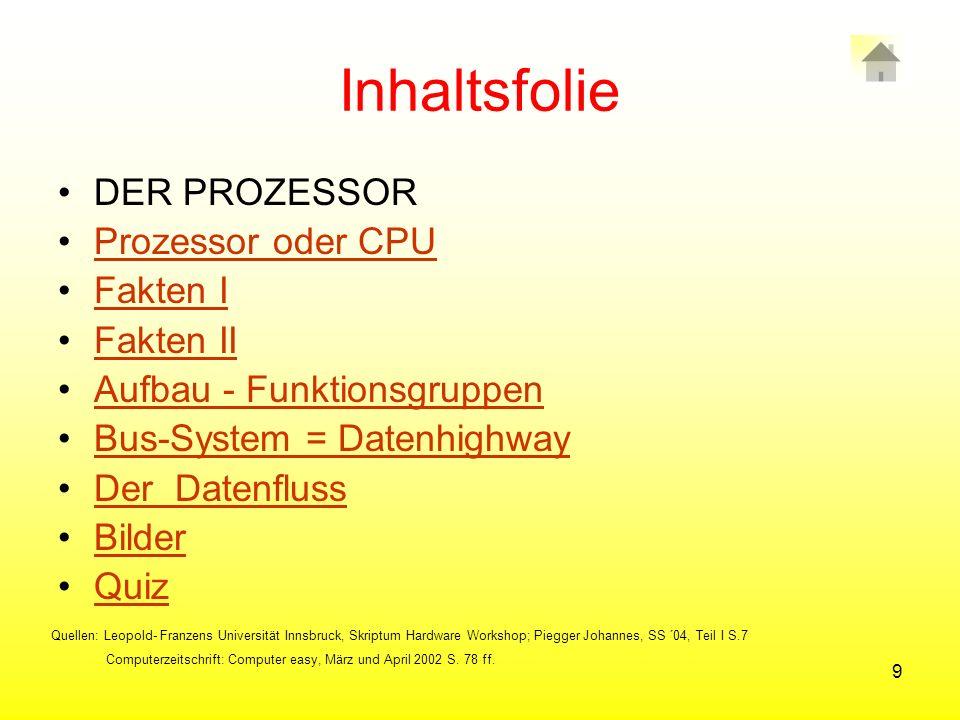 Inhaltsfolie DER PROZESSOR Prozessor oder CPU Fakten I Fakten II